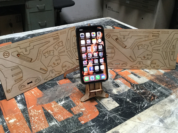 Phone on stand w 2 cut blanks