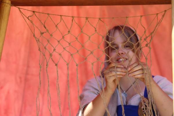 Net making at Hedgend Medieval Fair - Photo by Conrad Hendricks