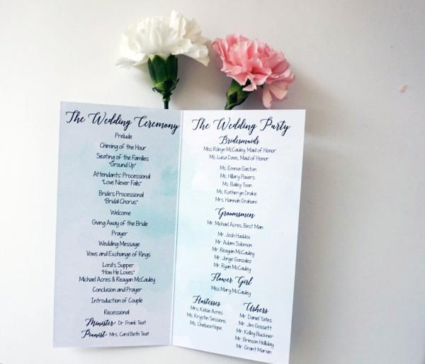 Custom Wedding Program