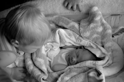 sibling and new baby after homebirth