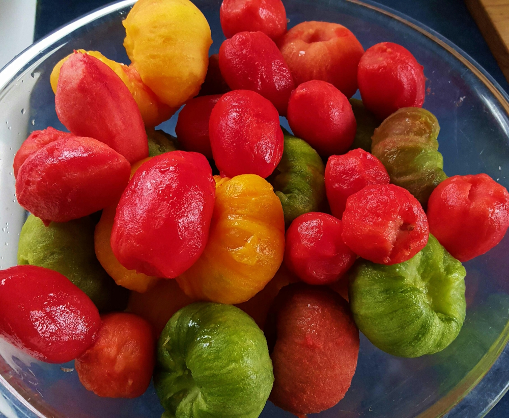 Beautifully peeled heirloom tomatoes from my garden;)
