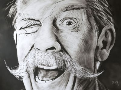 John Hurt the eye Rudy Vandecappelle rmvportraitsart painting for sale