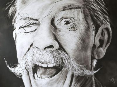 John Hurt the eye Rudy Vandecappelle rmvportraitsart painting for sale
