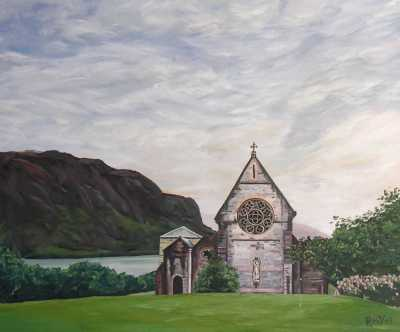 """""""SAINT-MARRY'S CHURCH IN GLENFINNAN"""", Rudy Vandecappelle, RmV Portraits Art, portraits, oil painting, commission, gift, birthday, Christmas, New Year, parents, children, grand parents, dry brudh, people, animal, pet, dog, cat, hrse, donkey, mule"""