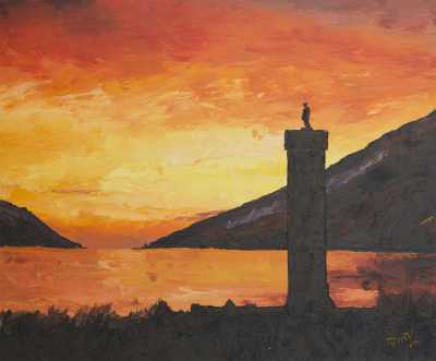 """""""JACOBITE MONUMENT IN GLENFINNAN"""", Rudy Vandecappelle, RmV Portraits Art, portraits, oil painting, commission, gift, birthday, Christmas, New Year, parents, children, grand parents, dry brudh, people, animal, pet, dog, cat, hrse, donkey, mule"""