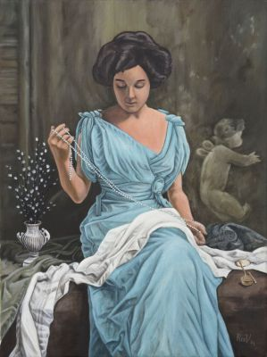 Woman pearls Rudy Vandecappelle rmvportraitsart oil painting for sale