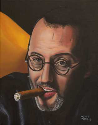 JEAN RENO, Rudy Vandecappelle, RmV Portraits Art, portraits, oil painting, commission, gift, birthday, Christmas, New Year, parents, children, grand parents, dry brudh, people, animal, pet, dog, cat, hrse, donkey, mule