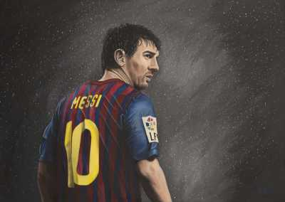 LIONEL MESSI, Rudy Vandecappelle, RmV Portraits Art, portraits, oil painting, commission, gift, birthday, Christmas, New Year, parents, children, grand parents, dry brudh, people, animal, pet, dog, cat, hrse, donkey, mule