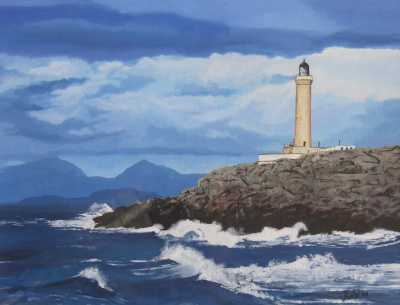 """""""ARDNAMURCHAN LIGHTHOUSE"""", Rudy Vandecappelle, RmV Portraits Art, portraits, oil painting, commission, gift, birthday, Christmas, New Year, parents, children, grand parents, dry brudh, people, animal, pet, dog, cat, hrse, donkey, mule"""