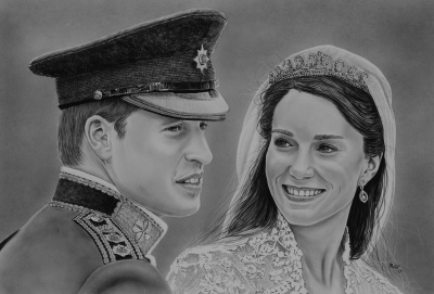 Rudy Vandecappelle, RmV Portraits Art, portraits, oil painting, commission, gift, birthday, Christmas, New Year, parents, children, grand parents, dry brush, people, duke and duchess of cambridge, William and Kate, wedding portrait
