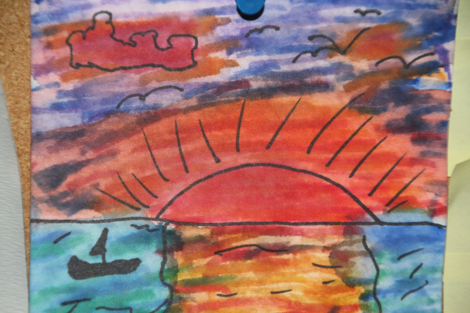 painting with markers sunset