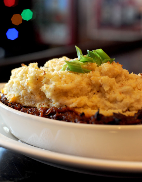 BBQ Pork Pie with Chili Cheese Grits Topping