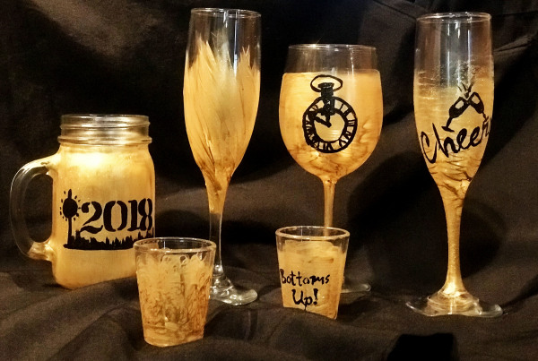 Gold Painted Glass Set