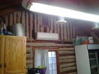 Fujitsu Mini Split in Log Cabin Kitchen, We install Fujisu  33 seer systems