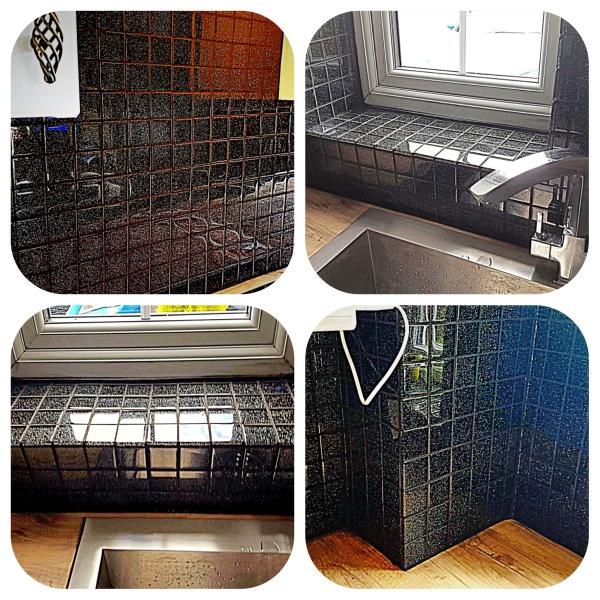Black Glittery Glass Tiles