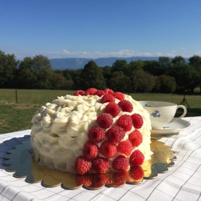Coconut, Raspberry & White Chocolate Ruffle Cake