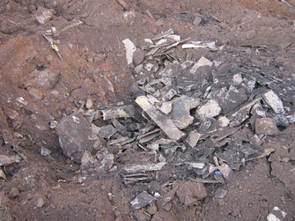 Asbestos cement debris