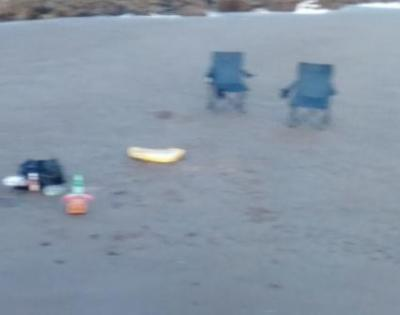 wet sand, chairs, Saltcoats, the sea
