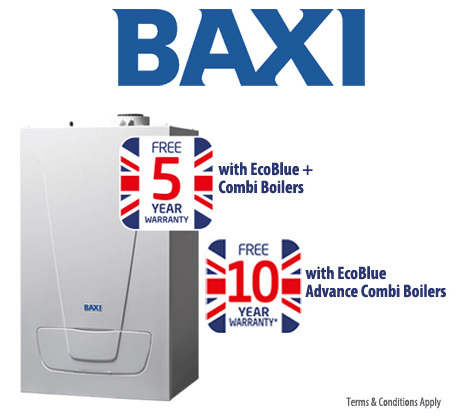 Baxi Combi boilers 5 to 10 years warranty