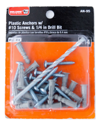 Plastic Anchors with #10 Screws & 1/4' Drill Bit