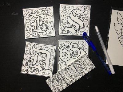 4 x 4 coloring monogram tiles