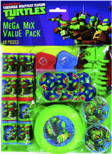 Teenage Mutant Ninja Turtles TMNT Party Favours Mega Value Pack Gifts Supplies (48 Pieces)