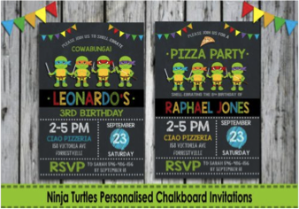 TMNT Chalk Invitation Card
