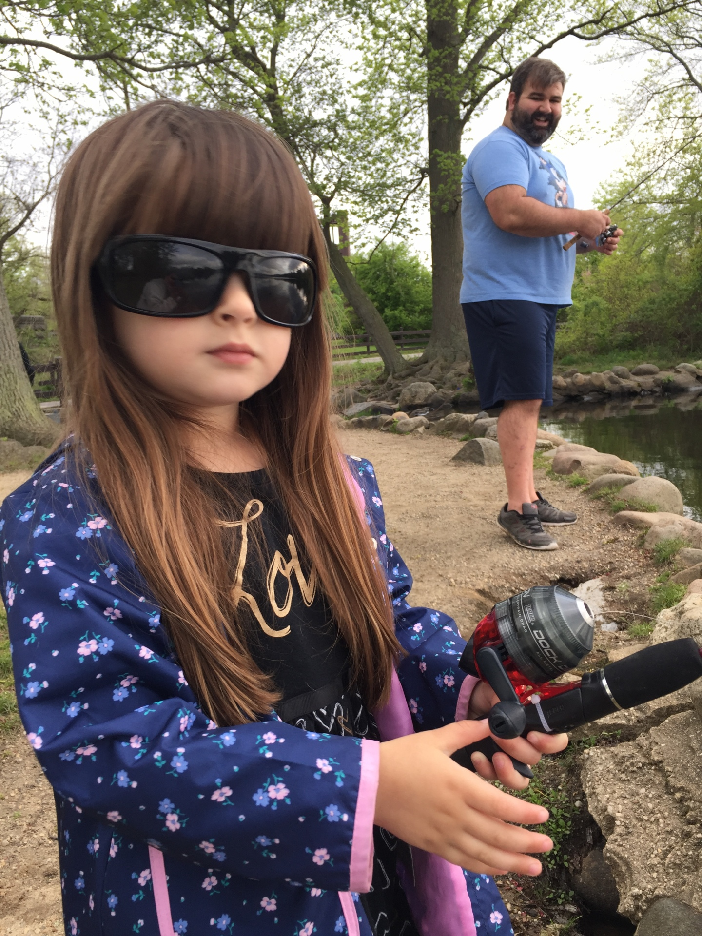 My lady angler rocking my polarized glasses.