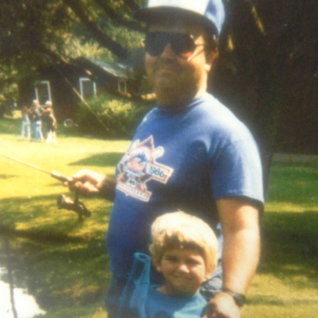 My father and I fishing in a campground in the Catskills (NY),