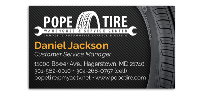Pope Tire Business Card