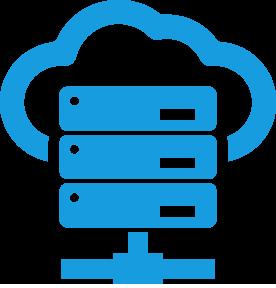 Une image de serveurs et de nuages qui sont fusionnés et qui demontre que nous vendons, installons et configurons des serveurs hébergés
