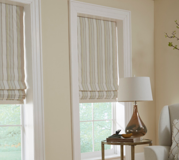 Custom Fabric Roman Shades by Horizons