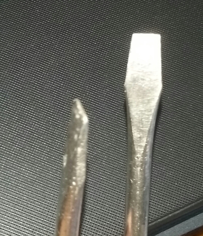 Slot head screwdrivers, also known as standard, common, and flat blade screwdrivers.