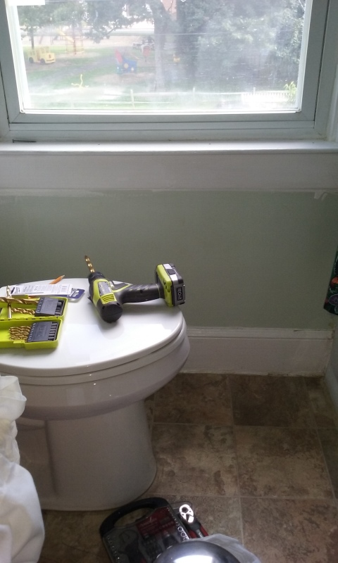 Window sill and drill