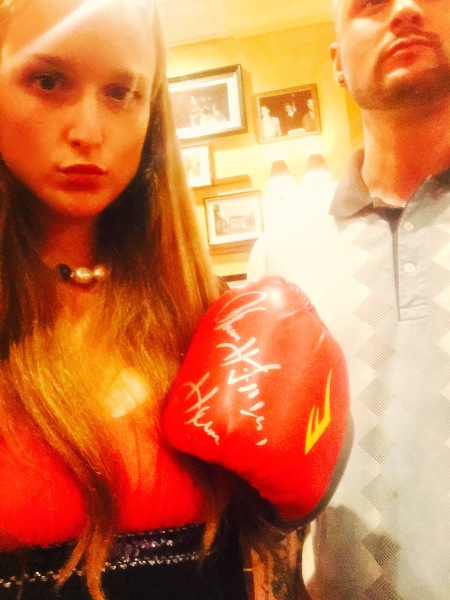 Wearing the Famous Glove... at Mayweather Event in Vegas