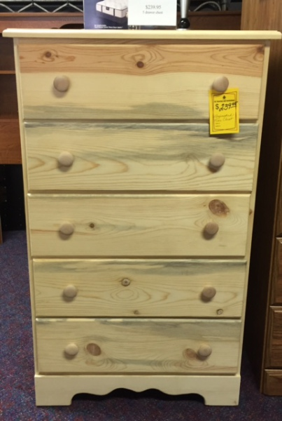 Unfinished Pine 5 drawer Chest- $239.95