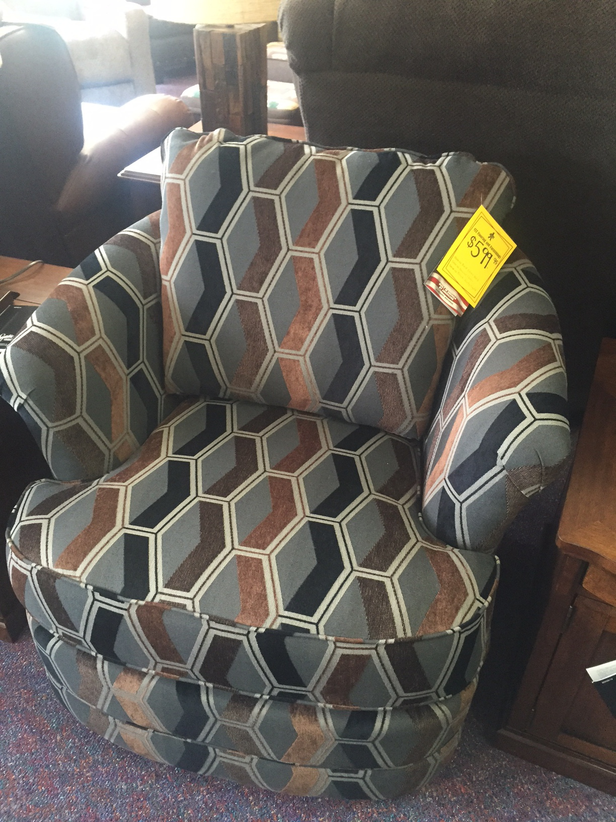 Best Craft Swivel barrel chair- $599.95