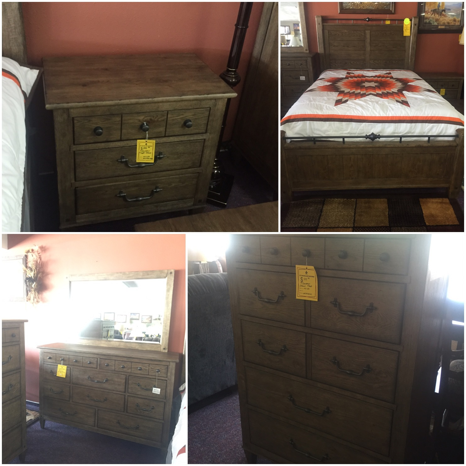 Klaussner Queen 5 piece Bedroom set was $3399.95 NOW $2399.95