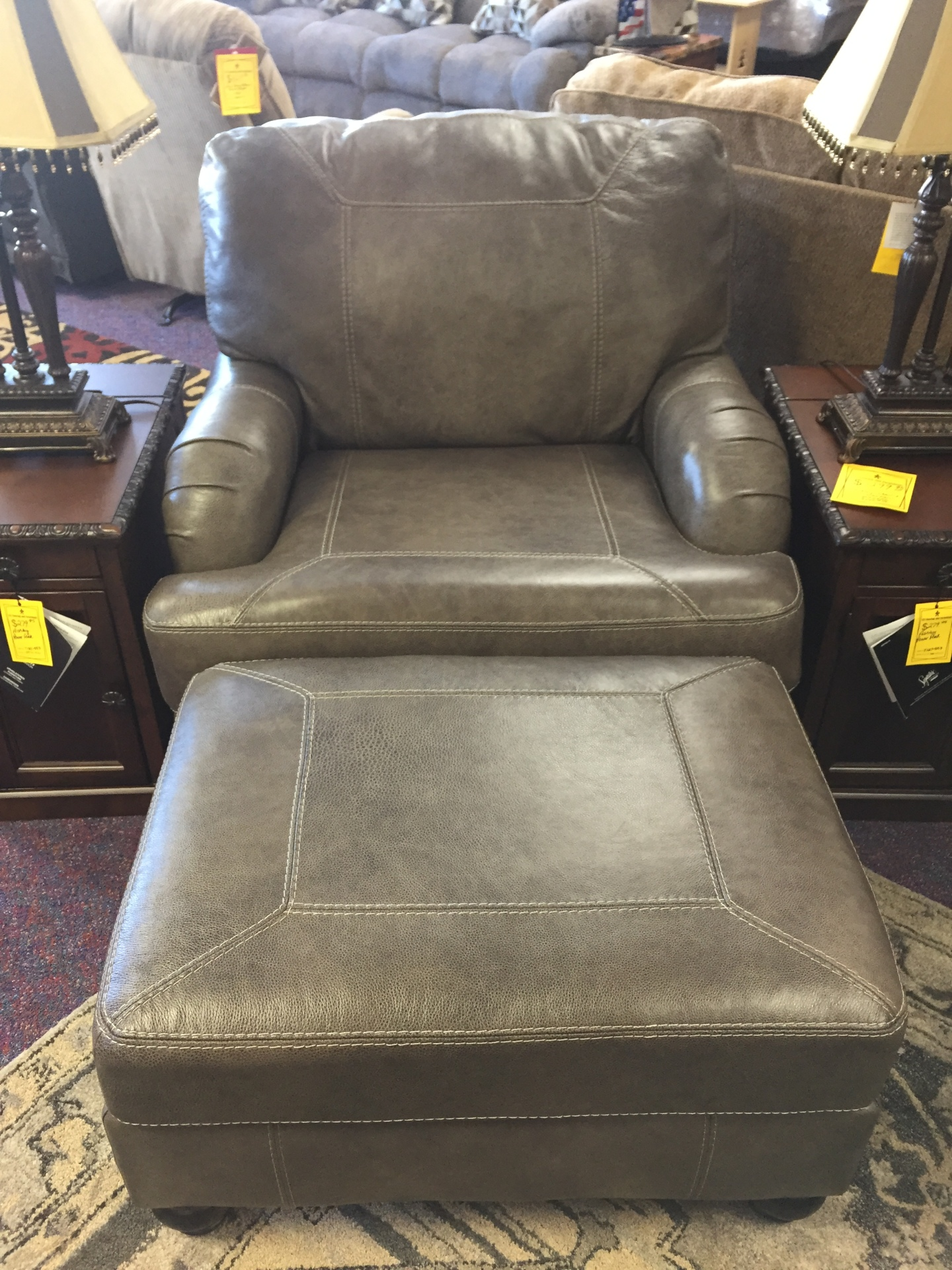 Ashley Leather Chaise Lounge Chair & Ottoman- $1099.95