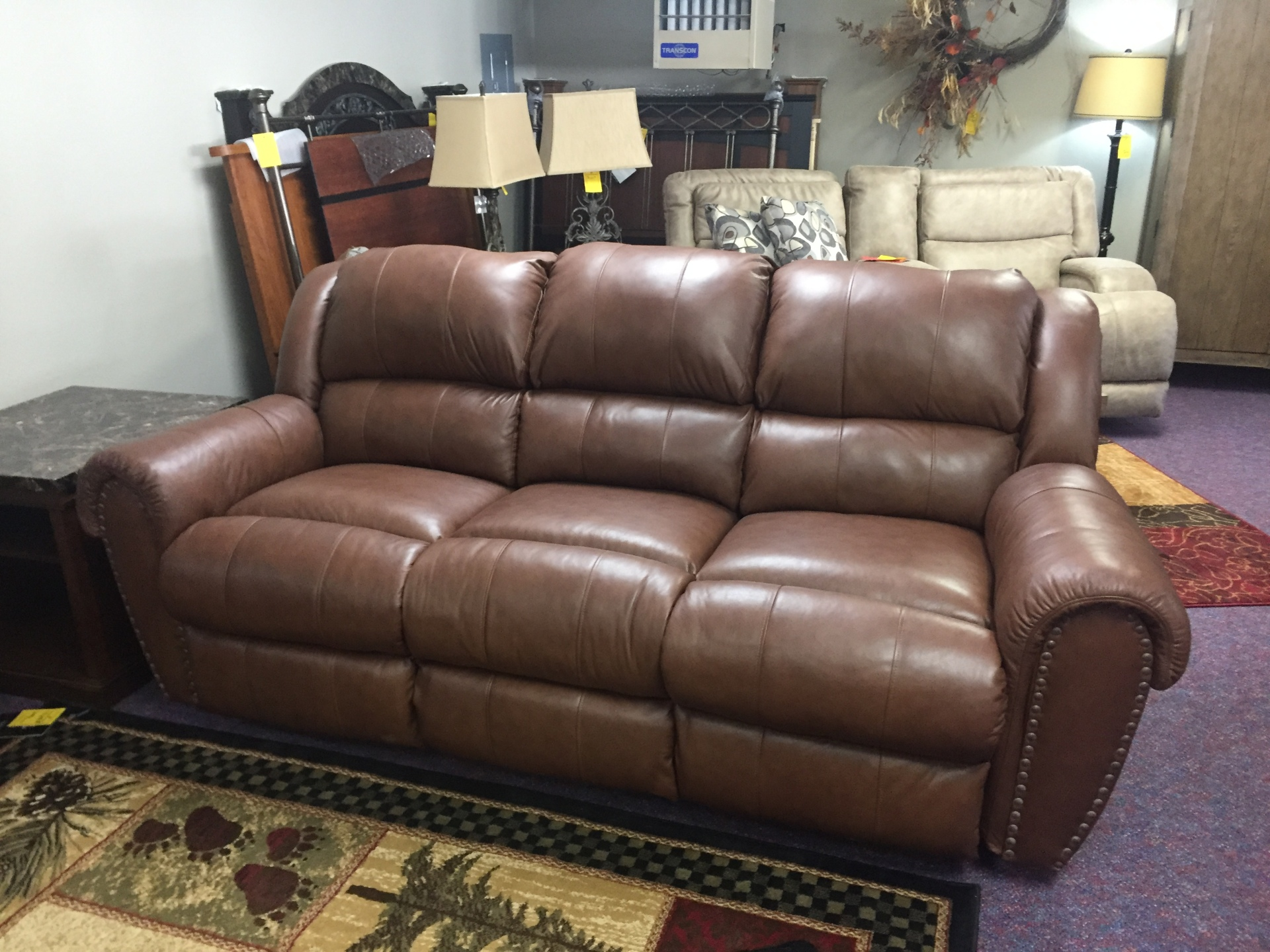 Lane Leather Reclining Sofa- $1899.95 NOW ONLY $1600.00