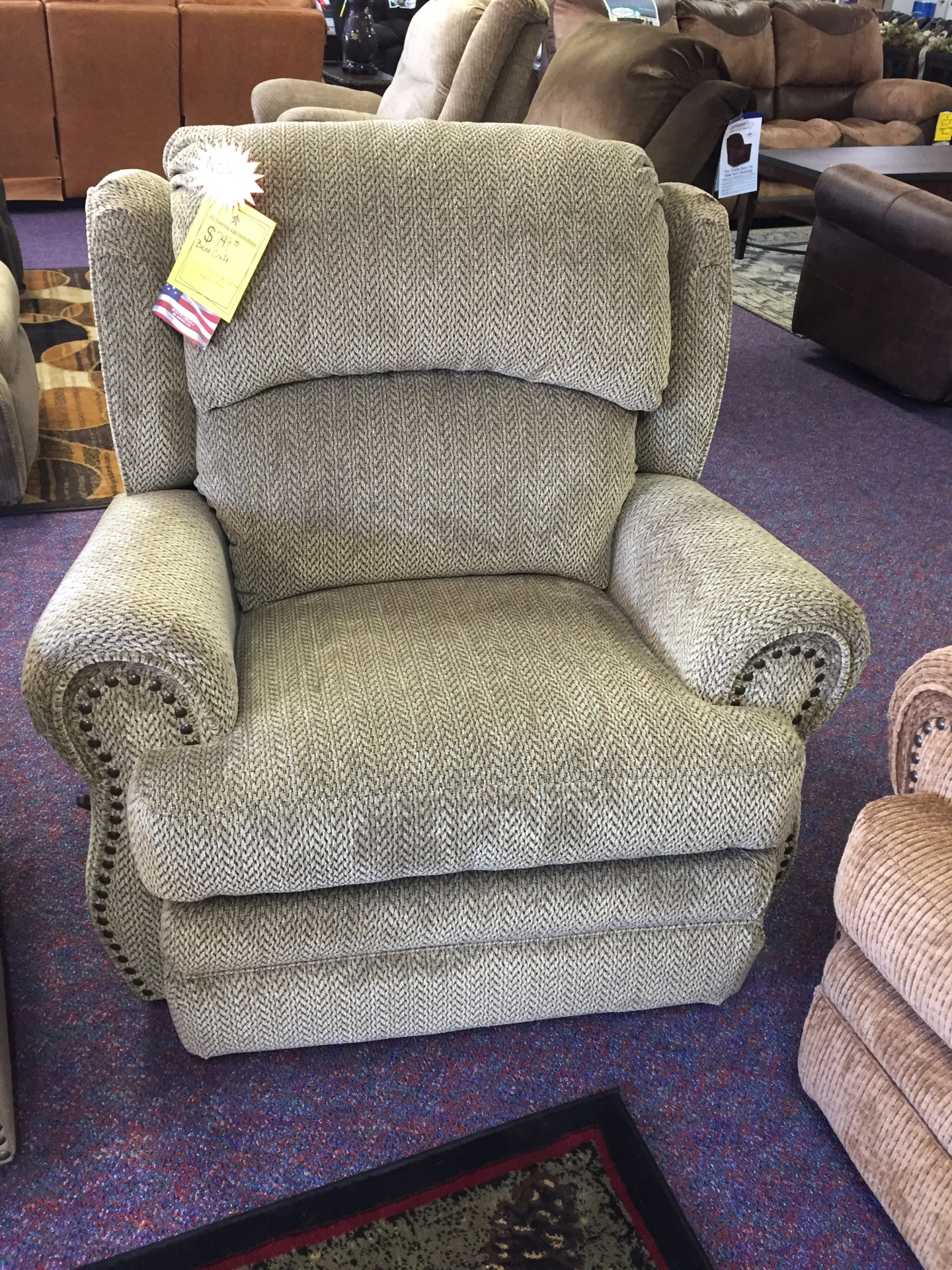 Best Craft Rocker Recliner- String Ray Thistle
