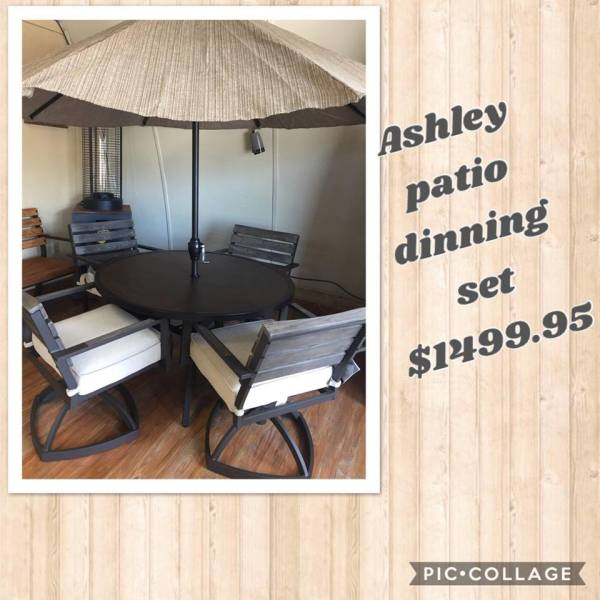 ASHLEY PATIO DINNING SET- $1499.95 NOW ONLY $1199.95