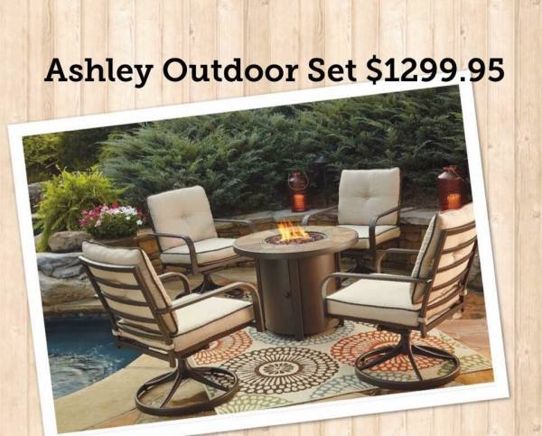 ASHLEY OUTDOOR PROPANE FIRE PIT SET- $1299.95