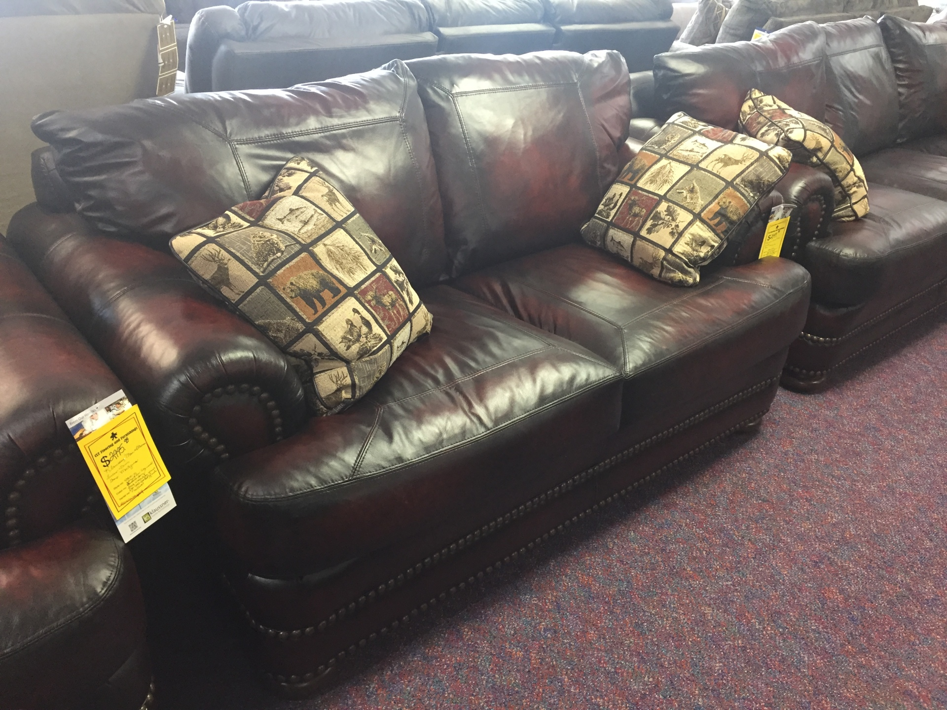 Klaussner Leather Love seat- $2949.95 NOW ONLY $2506.95