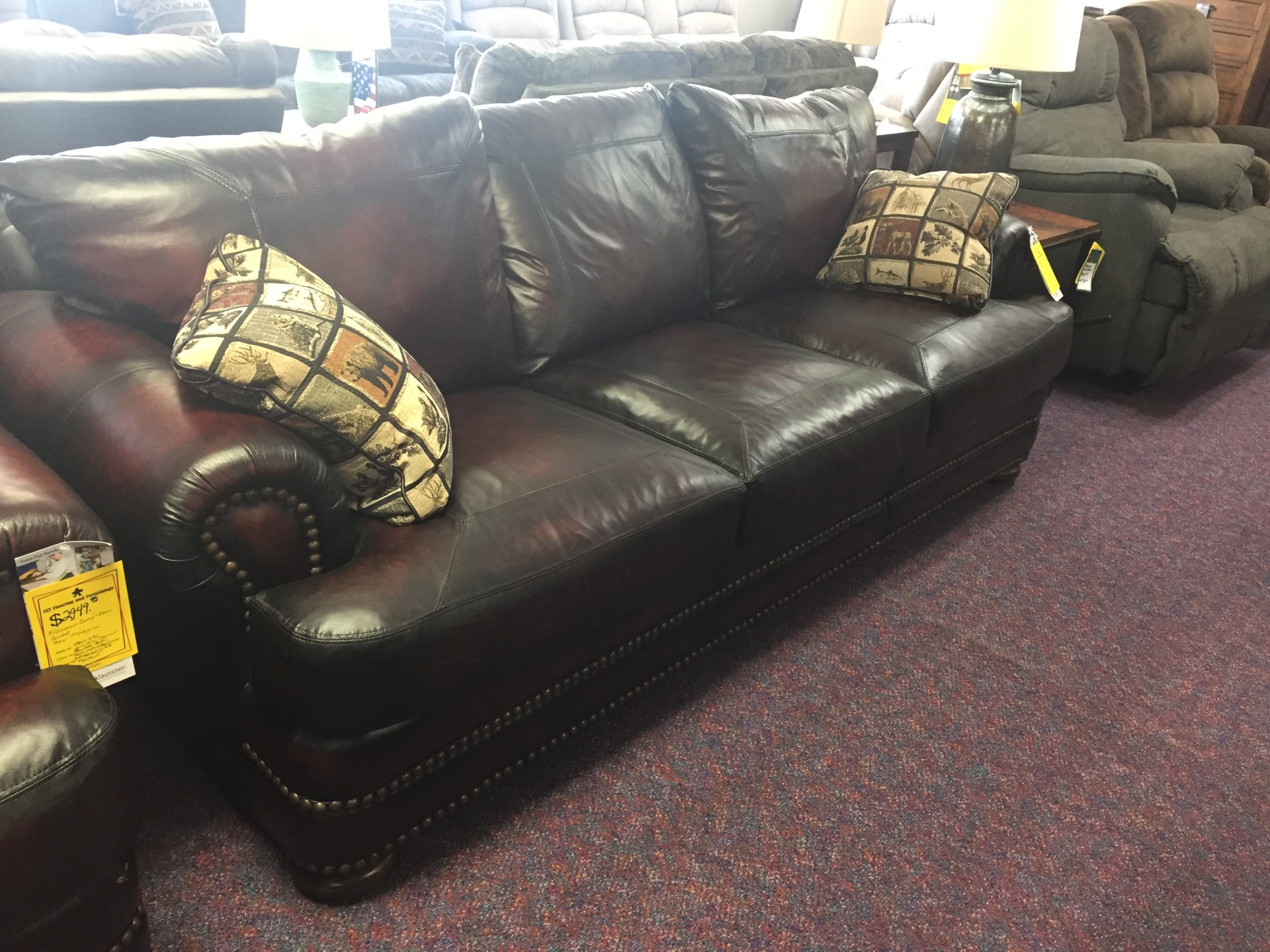 Klaussner Leather Sofa- $2995.95 NOW ONLY $2654.95