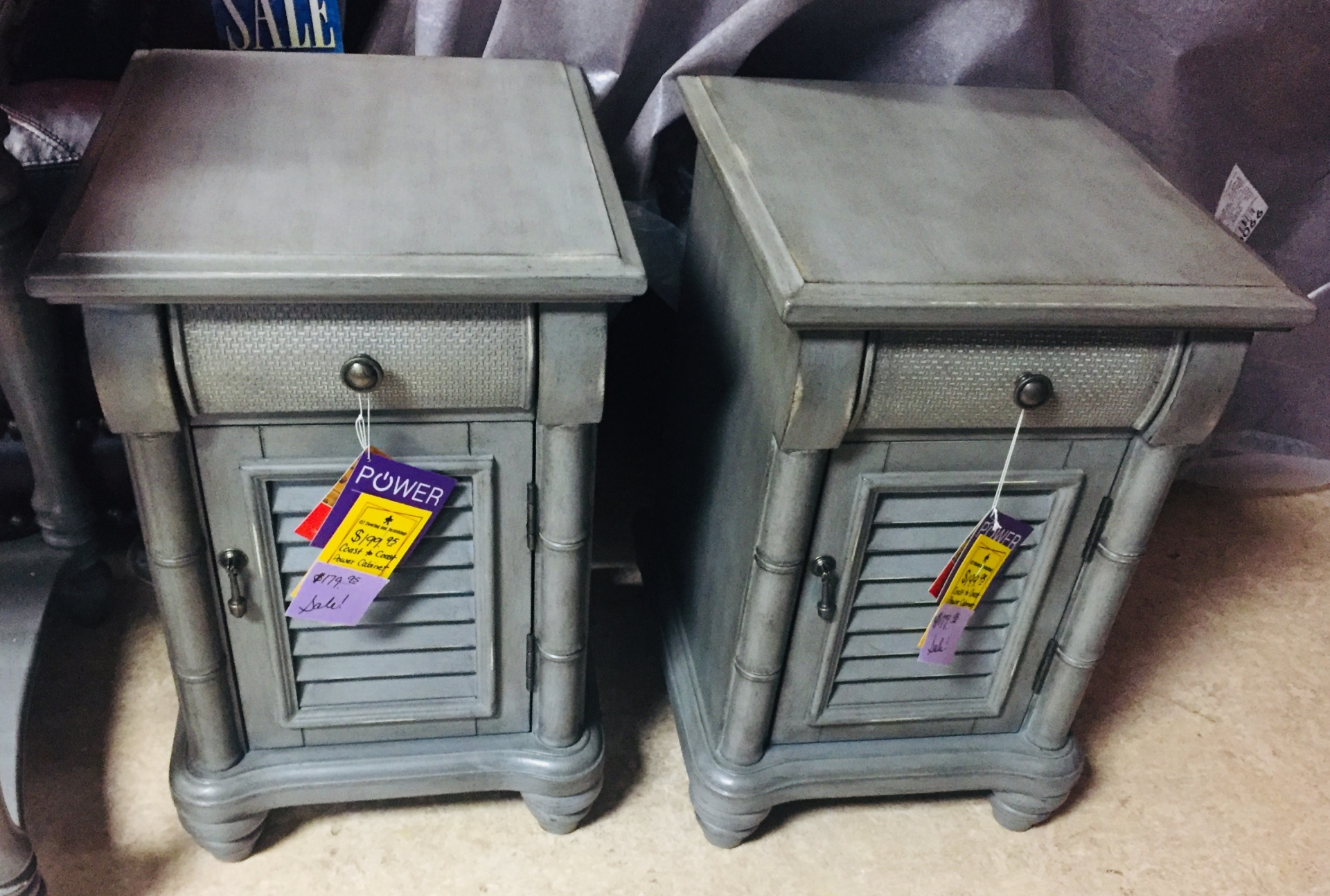 COAST TO COAST GREY POWER END TABLES (2 IN STOCK)