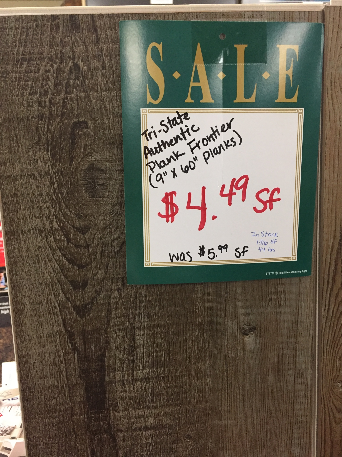 TRI STATE AUTHENTIC PLANK WAS $5.99 SF NOW ONLY $4.49 SF
