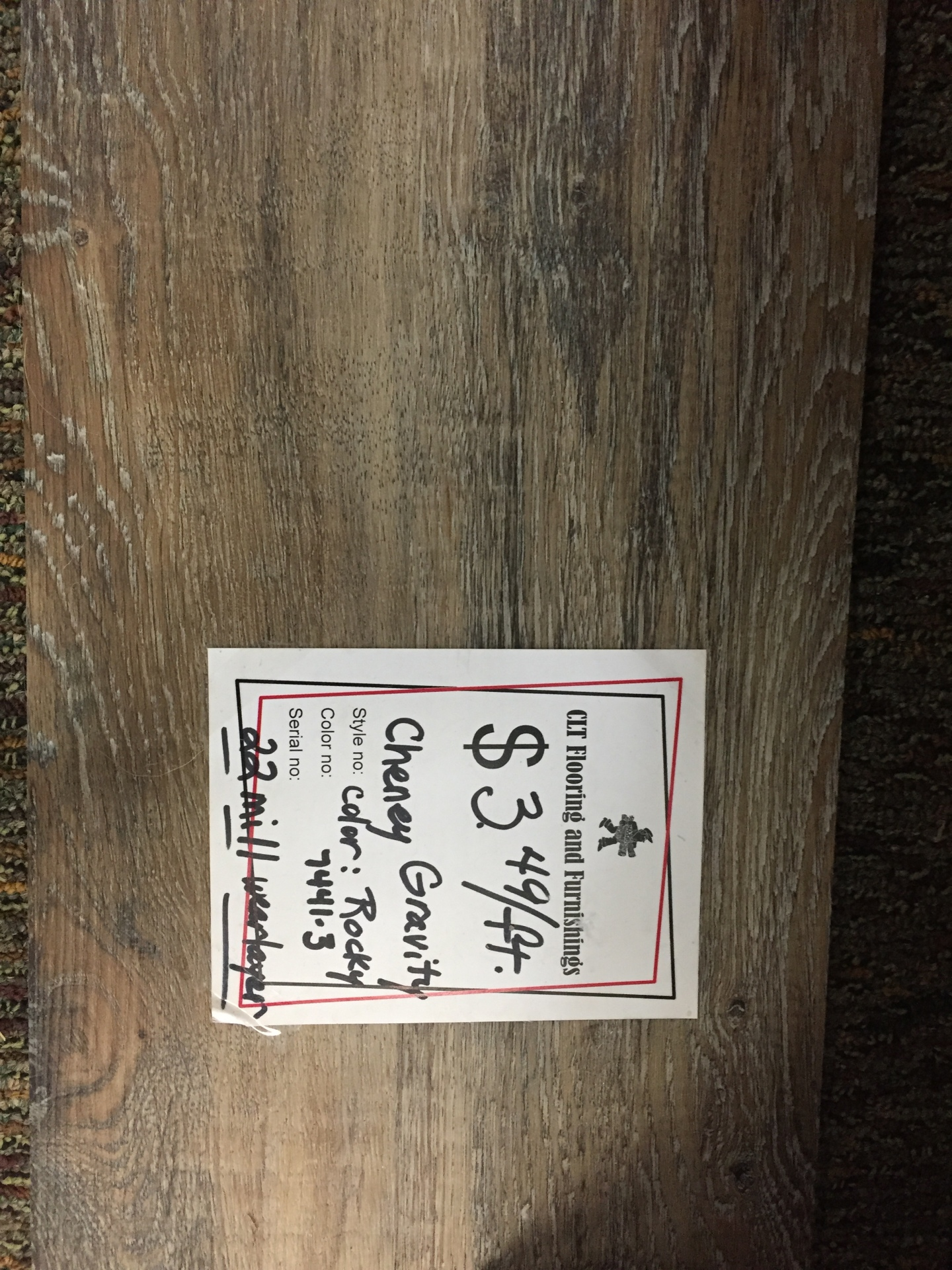 CHENEY GRAVITY PLANK $3.49 SF LOOSE LAY!!