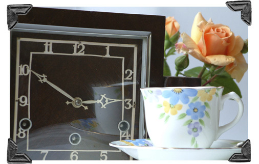 clock and teacup