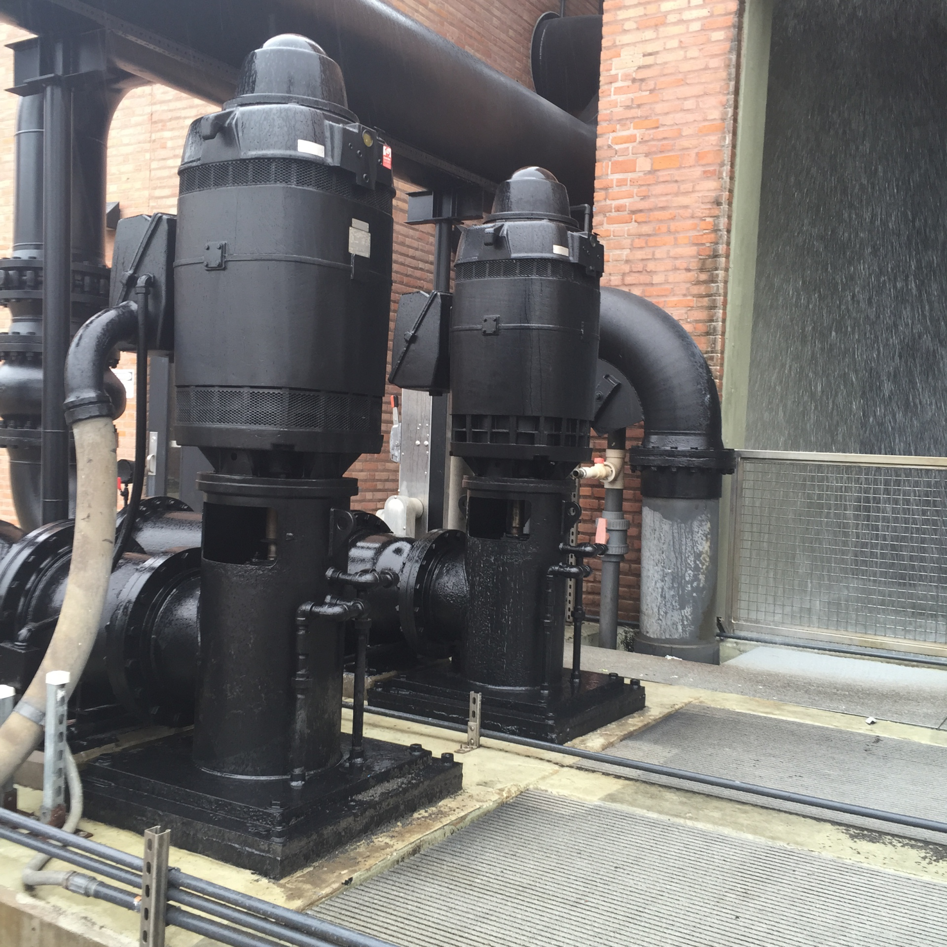 Cooling tower pumps after being regrouted taking care of resonance vibration